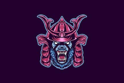 wolf samurai animal illustration