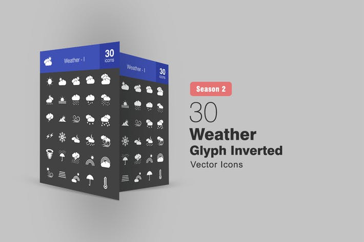 Thumbnail for 30 Weather Glyph Inverted Icons Season II