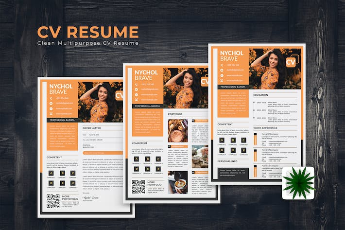 Thumbnail for Barista CV Resume Template