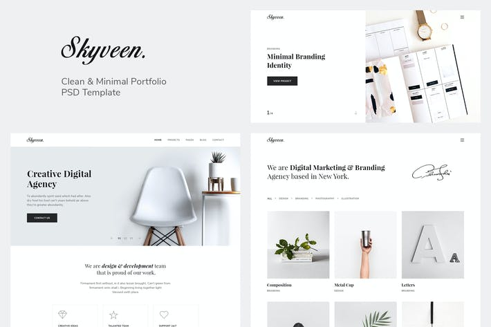 Thumbnail for Skyveen - Minimal & Clean Portfolio PSD Template
