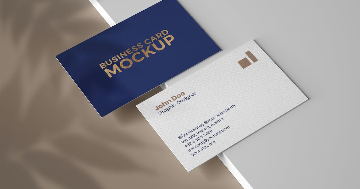 Download Business Card Mockup With Overlay Shadow by deeplabstudio
