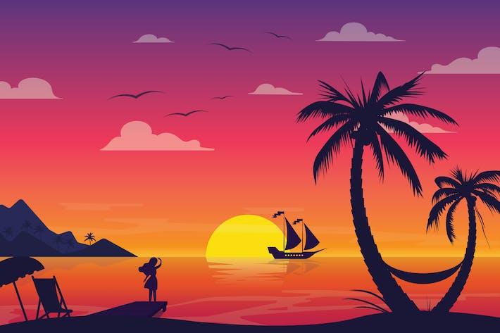 Thumbnail for Farewell Beach - Landscape Illustration