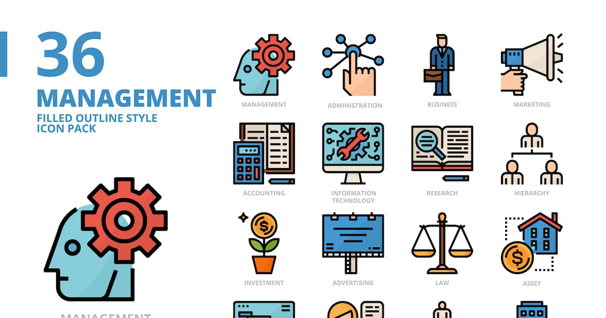 Download Management Filled Outline Style Icon Set by monkik