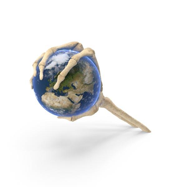 Skeleton Hand Holding Earth