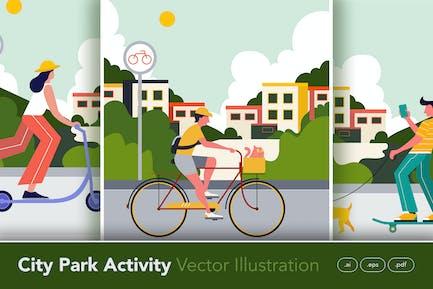 City Park Activity in Sunday Morning