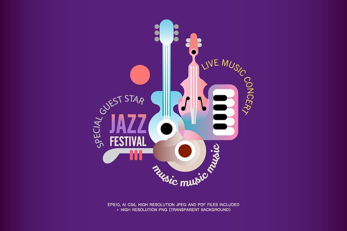 Thumbnail for Jazz Festival vector poster design