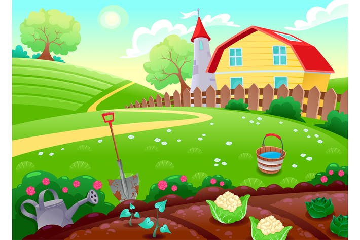 Thumbnail for Countryside Scenery with Vegetable Garden