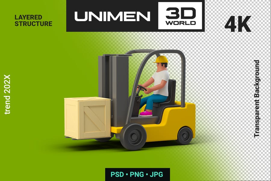 3D Man Worker in Loader with Box Container