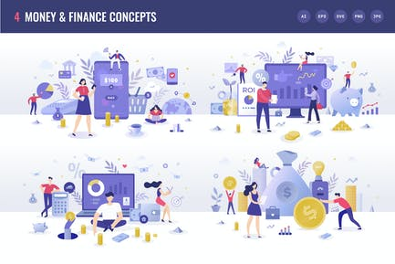 4 Money & Finance Flache Illustrationskonzepte