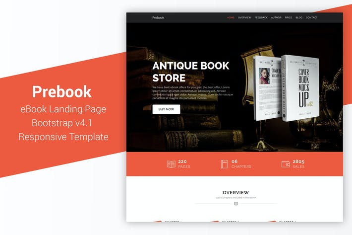 Thumbnail for Prebook - eBook Landing Page Responsive Bootstrap