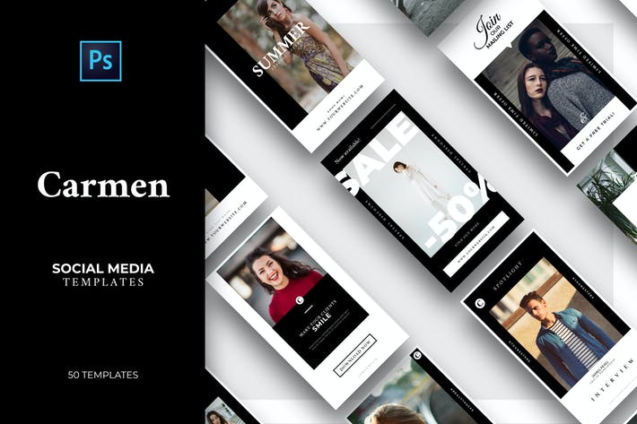 Thumbnail for Carmen -  25 Modern Social Media Templates