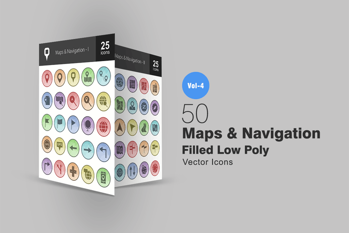 Thumbnail for 50 Maps & Navigation Filled Low Poly Icons