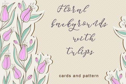 Blumige Hintergründe mit Tulpen