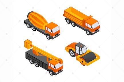 Baufahrzeuge - isometrische Elemente
