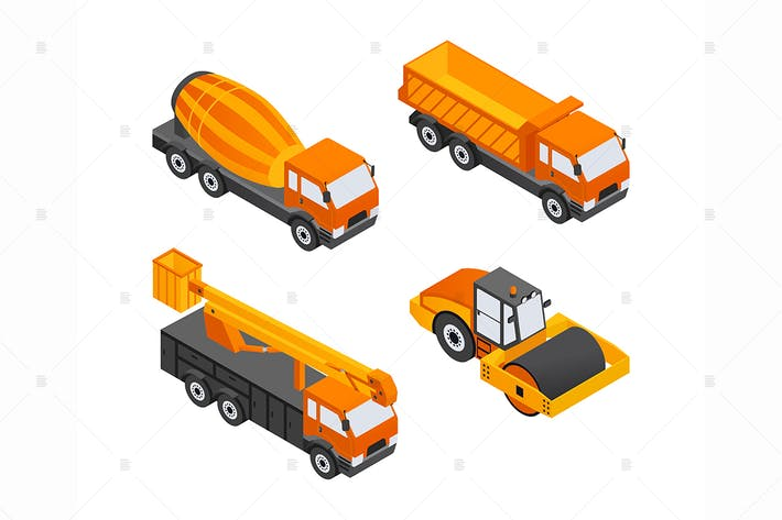 Thumbnail for Construction Vehicles - isometric elements