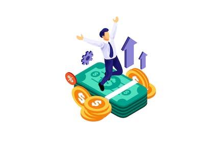 Isometric Businessman Successful Financial