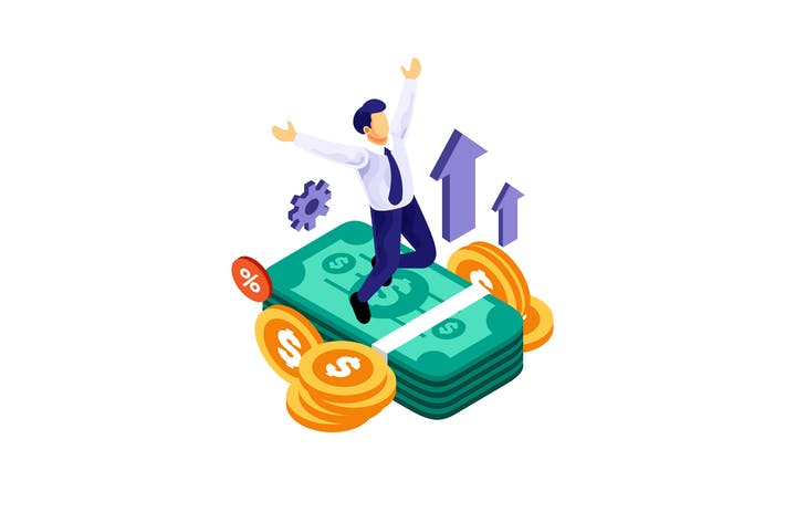 Thumbnail for Isometric Businessman Successful Financial