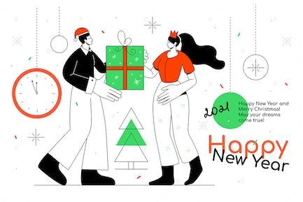 Feliz Año Nuevo - banner de estilo de diseño plano