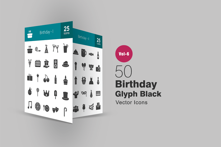 Thumbnail for 50 Birthday Glyph Icons