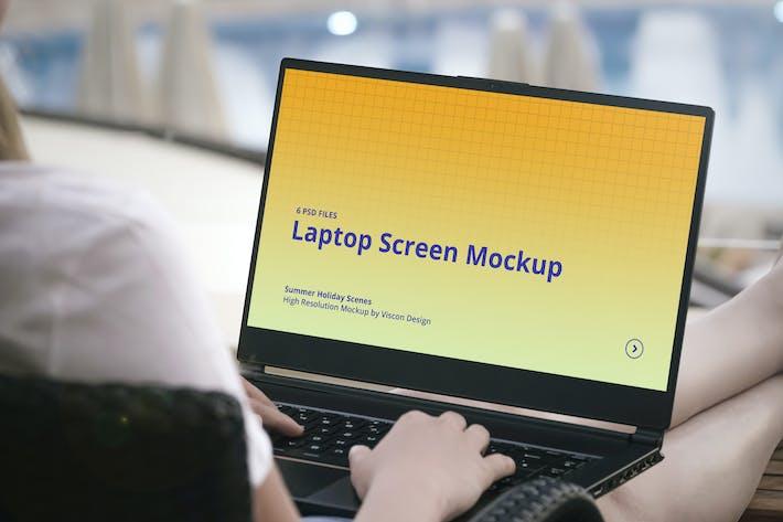 Thumbnail for Laptop Mockup Summer Scenes