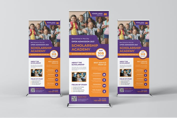 Scholarship Academy Roll Up Banner Template