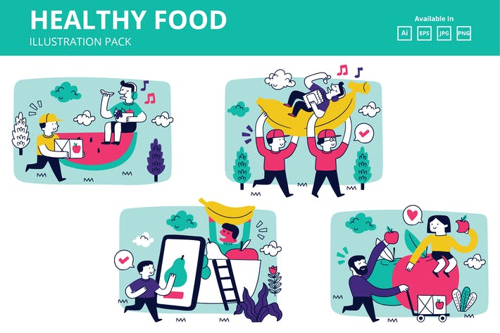 Thumbnail for Healthy Food and Fruit delivery doodle