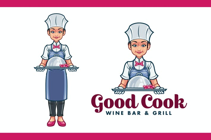 Thumbnail for Cartoon Female Chef Serving Food Mascot Logo