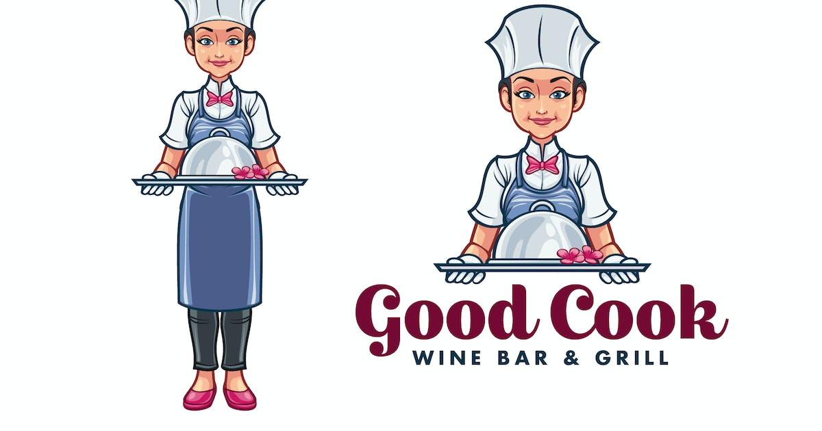 Download Cartoon Female Chef Serving Food Mascot Logo by Suhandi