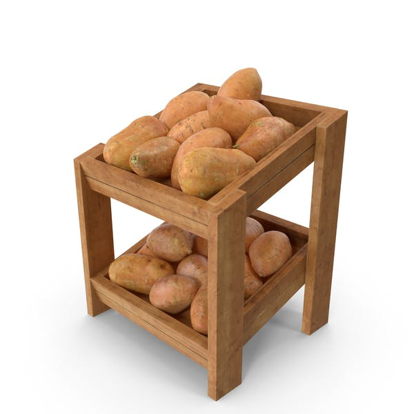 Wooden Merchandise Shelf with Sweet Potatoes