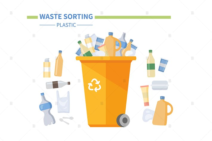 Thumbnail for Plastic waste sorting - flat design illustration