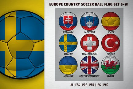 Europa-Country-Fußball-Flaggen-Set S-W