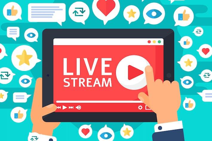 Soziale Reaktionen auf Live-Stream auf Tablet