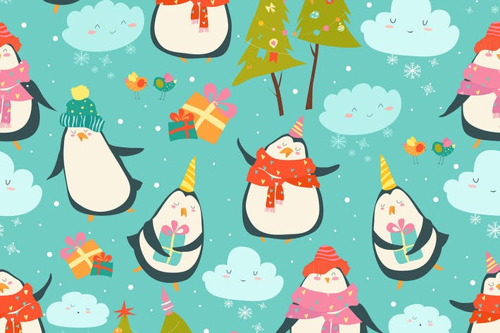 Thumbnail for Seamless pattern with cute penguins and christmas