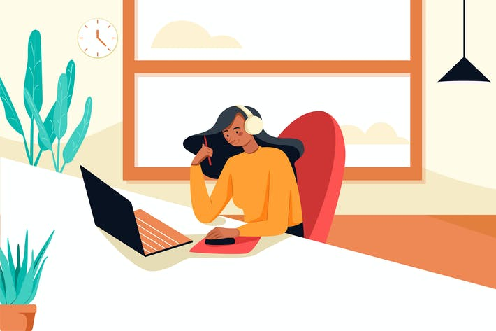 Thumbnail for Telecommuting concept with woman.