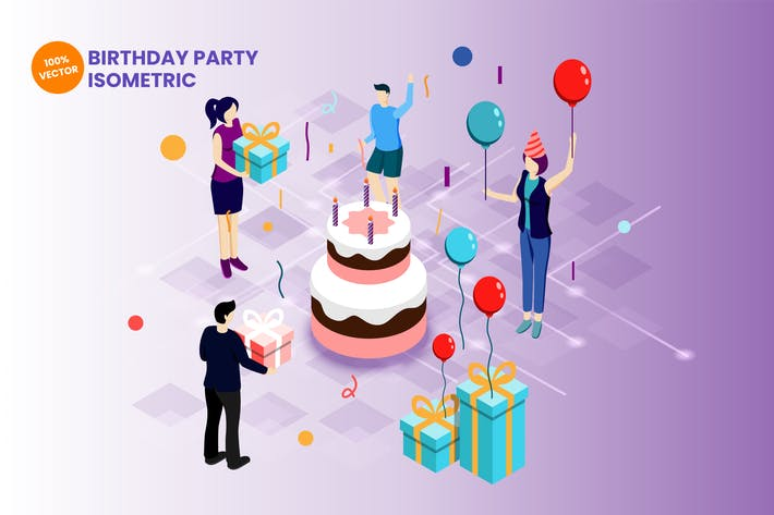 Thumbnail for Isometric Birthday Party Vector Illustration