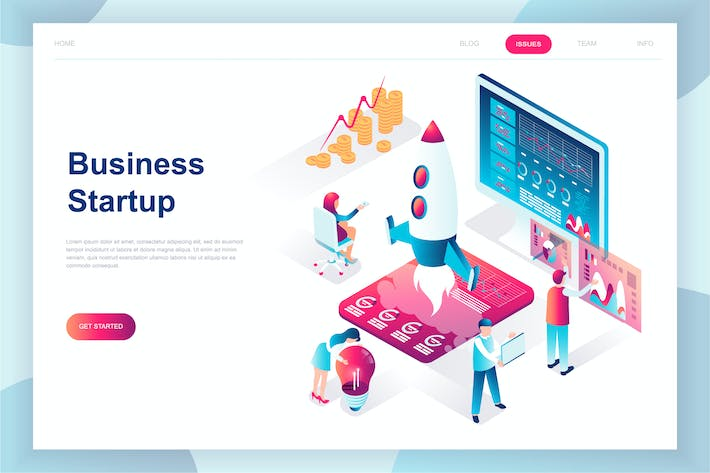 Thumbnail for Startup Your Project Isometric Landing Page