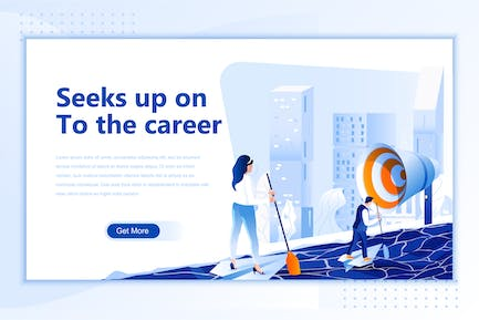 Seeks Up On To The Career Flat Landing Page Header
