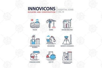 Icons für Gebäude- und Konstruktionslinien