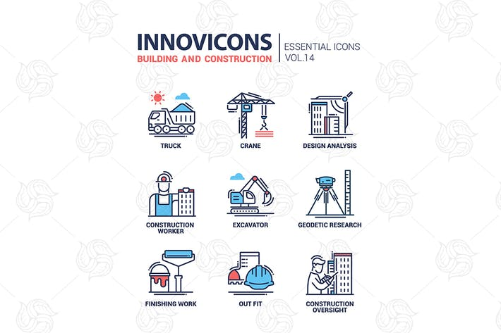 Thumbnail for Building and construction line design icons