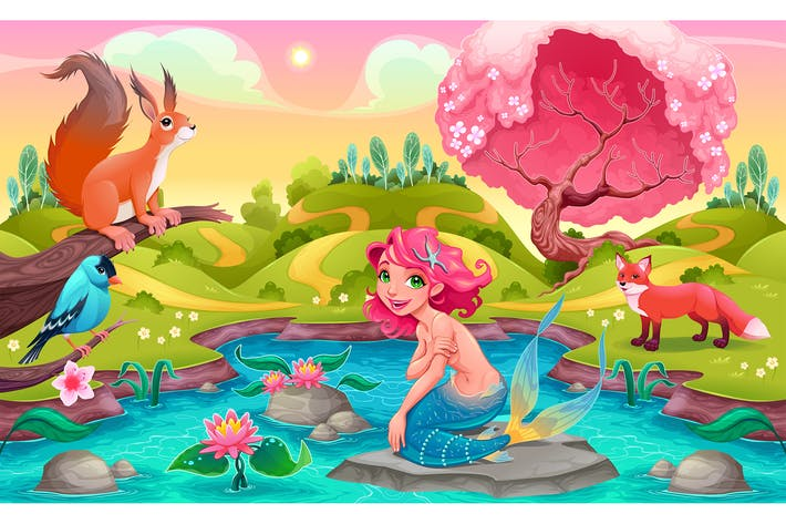 Thumbnail for Fantasy Scene with Mermaid and Animals