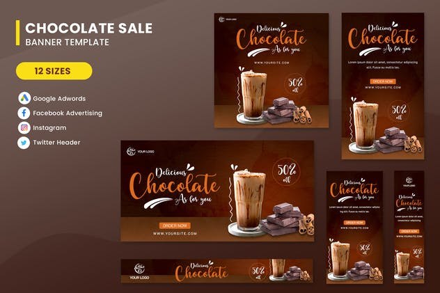 Chocolate Sale Banner Ads Set Template