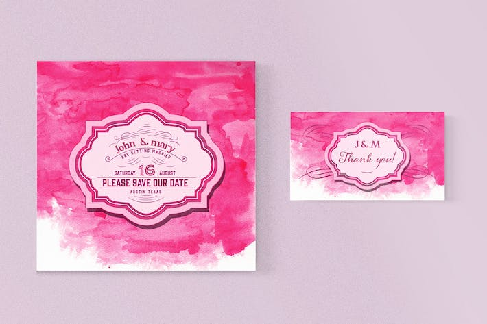 Thumbnail for Wedding invitation with watercolor