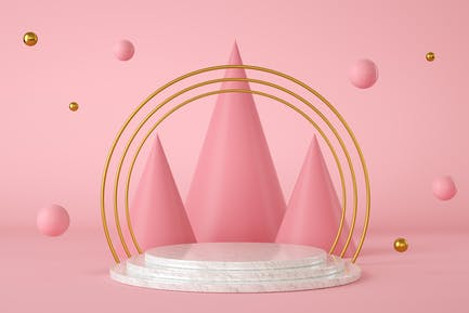 Abstract pink background with a marble podium