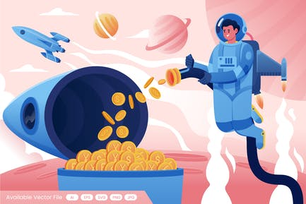 Astronaut Collects Crypto Currency coins on Rocket