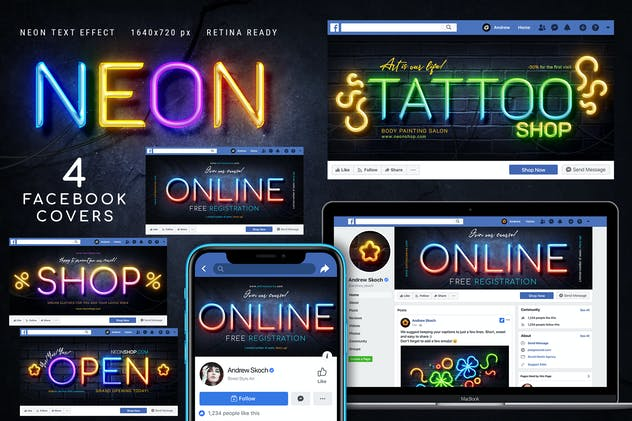 Neon Facebook Covers - 4 PSD - product preview 0