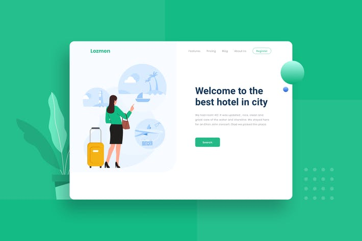 Thumbnail for Travel Destination Landing Page Illustration