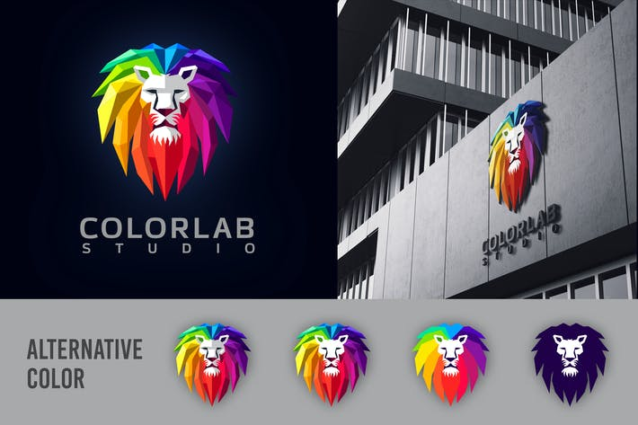 Cover Image For Low Poly Geometric Colorful Lion Mascot Logo