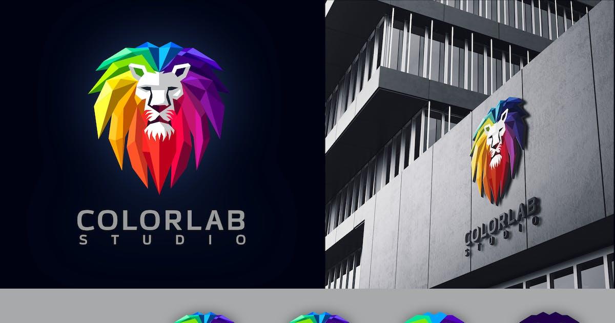 Low Poly Geometric Colorful Lion Mascot Logo by Suhandi