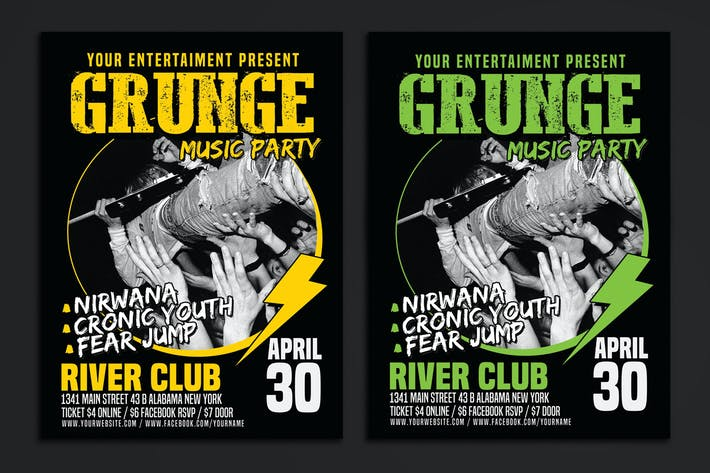 Thumbnail for Grunge Music Party Poster Flyer