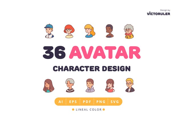36 Avatar Character Design Lineal Color Style